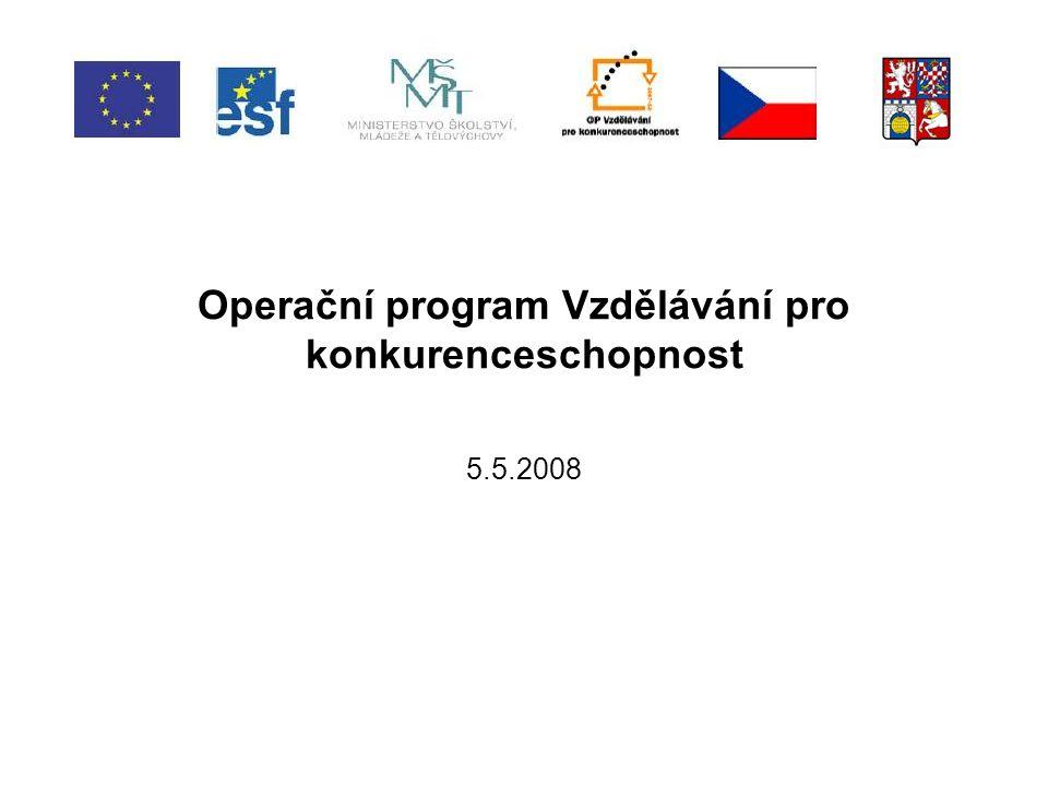 Program semináře -Operační program Vzdělávání pro konkurenceschopnost; -Grantové projekty – obecné náležitosti; -Výzvy k předkládání projektů; -Oblasti podpory; -Hodnocení a výběr projektů