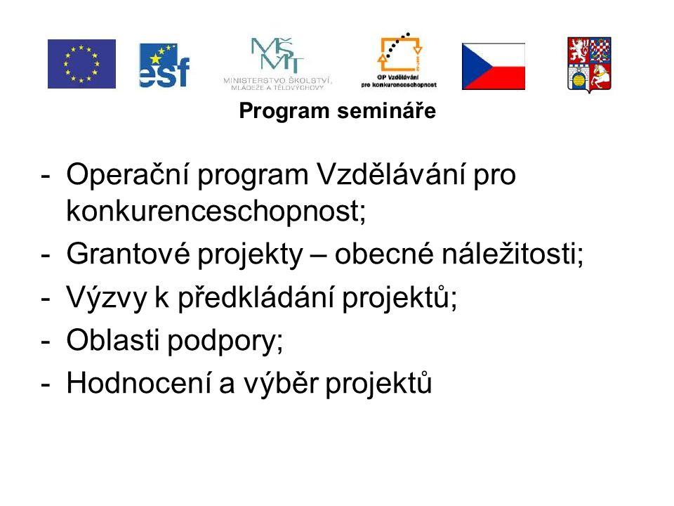 Operační program Vzdělávání pro konkurenceschopnost -OP VK je program jehož prostřednictvím bude možné v letech 2007 – 2013 čerpat finanční prostředky z ESF a státního rozpočtu ČR; -OP VK si klade za cíl modernizovat systémy počátečního, terciárního a dalšího vzdělávání a jejich propojení do komplexního systému celoživotního učení a zlepšení podmínek ve výzkumu a vývoji; -V rámci OP VK lze realizovat grantové projekty, individuální projekty a systémové projekty.