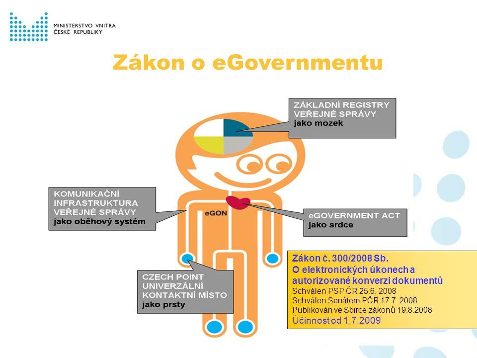 Zákon o eGovernmentu Zákon č. 300/2008 Sb.