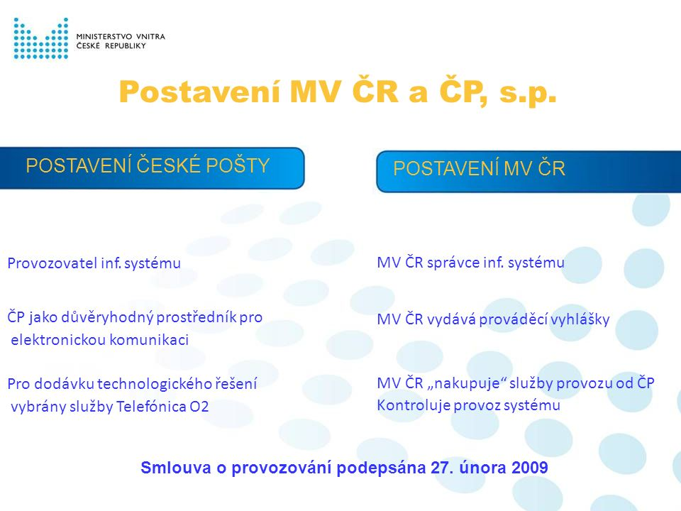 Česká pošta a datové schránky Zajišťuje chod celého systému, rozesílání přístupových údajů, helpdesk, callcentrum a další provozní služby.