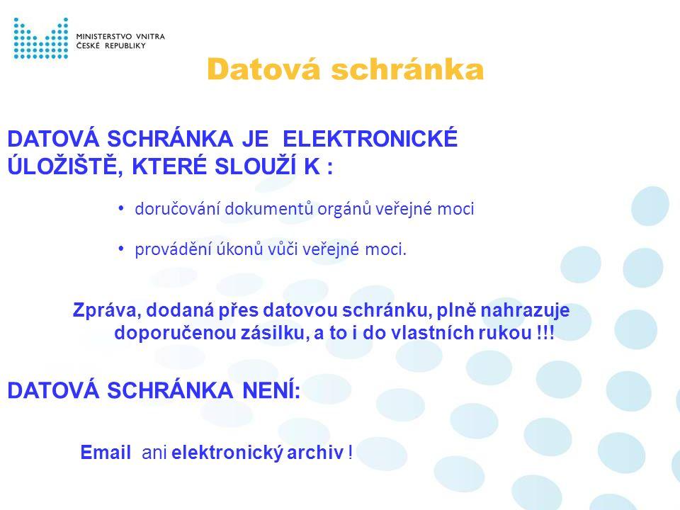 doručování dokumentů orgánů veřejné moci Datová schránka Email ani elektronický archiv ! Zpráva, dodaná přes datovou schránku, plně nahrazuje doporuče