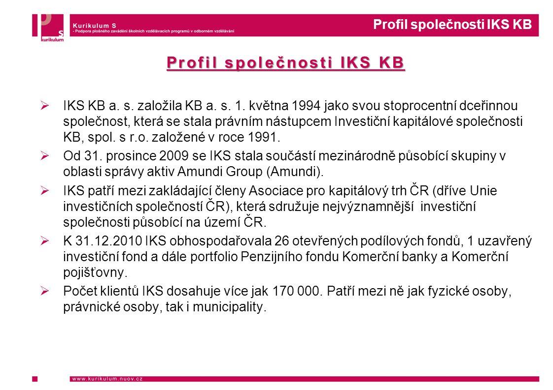 Profil společnosti IKS KB  IKS KB a. s. založila KB a. s. 1. května 1994 jako svou stoprocentní dceřinnou společnost, která se stala právním nástupce
