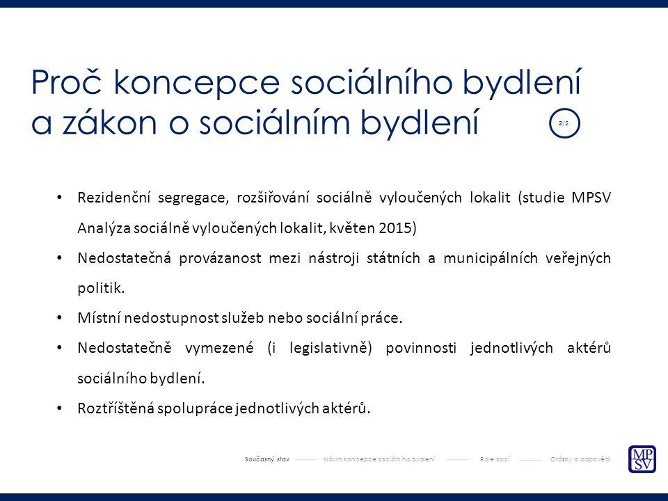 Rezidenční segregace, rozšiřování sociálně vyloučených lokalit (studie MPSV Analýza sociálně vyloučených lokalit, květen 2015) Nedostatečná provázanost mezi nástroji státních a municipálních veřejných politik.
