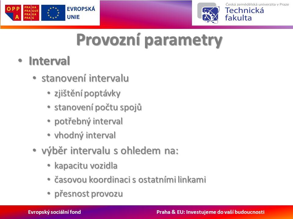 Evropský sociální fond Praha & EU: Investujeme do vaší budoucnosti Provozní parametry Interval Interval stanovení intervalu stanovení intervalu zjištění poptávky zjištění poptávky stanovení počtu spojů stanovení počtu spojů potřebný interval potřebný interval vhodný interval vhodný interval výběr intervalu s ohledem na: výběr intervalu s ohledem na: kapacitu vozidla kapacitu vozidla časovou koordinaci s ostatními linkami časovou koordinaci s ostatními linkami přesnost provozu přesnost provozu