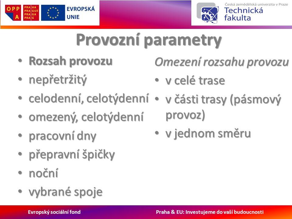 Evropský sociální fond Praha & EU: Investujeme do vaší budoucnosti Rozsah provozu Rozsah provozu nepřetržitý nepřetržitý celodenní, celotýdenní celodenní, celotýdenní omezený, celotýdenní omezený, celotýdenní pracovní dny pracovní dny přepravní špičky přepravní špičky noční noční vybrané spoje vybrané spoje Omezení rozsahu provozu v celé trase v celé trase v části trasy (pásmový provoz) v části trasy (pásmový provoz) v jednom směru v jednom směru Provozní parametry