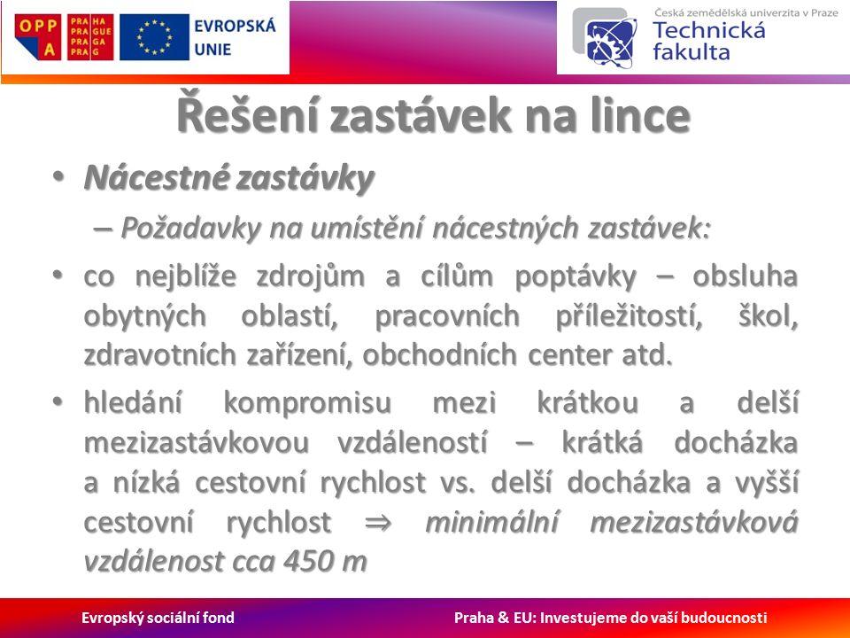 Evropský sociální fond Praha & EU: Investujeme do vaší budoucnosti Řešení zastávek na lince Nácestné zastávky Nácestné zastávky – Požadavky na umístění nácestných zastávek: co nejblíže zdrojům a cílům poptávky – obsluha obytných oblastí, pracovních příležitostí, škol, zdravotních zařízení, obchodních center atd.