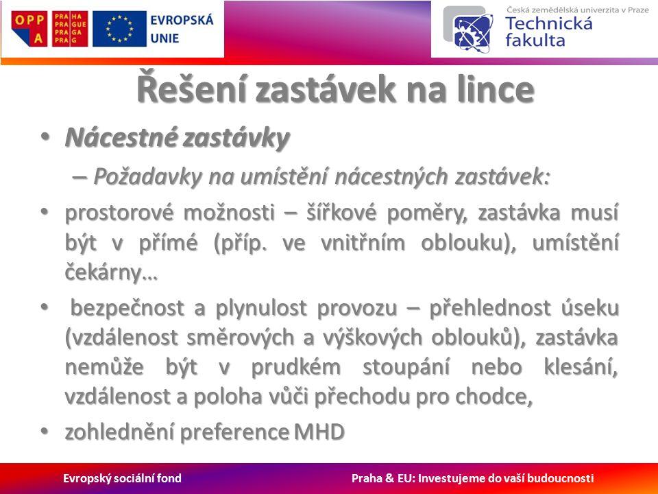 Evropský sociální fond Praha & EU: Investujeme do vaší budoucnosti Řešení zastávek na lince Nácestné zastávky Nácestné zastávky – Požadavky na umístění nácestných zastávek: prostorové možnosti – šířkové poměry, zastávka musí být v přímé (příp.