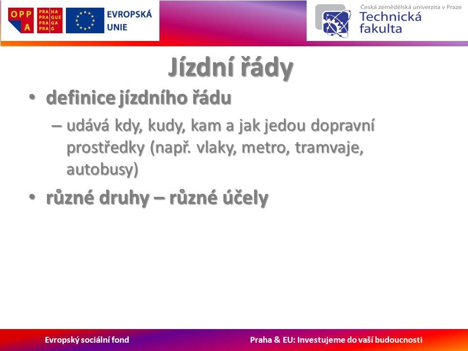 Evropský sociální fond Praha & EU: Investujeme do vaší budoucnosti Jízdní řády definice jízdního řádu definice jízdního řádu – udává kdy, kudy, kam a jak jedou dopravní prostředky (např.