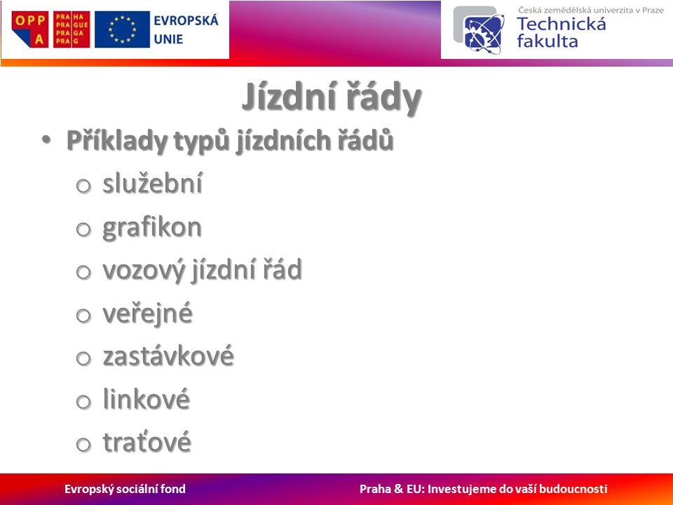 Evropský sociální fond Praha & EU: Investujeme do vaší budoucnosti Jízdní řády Příklady typů jízdních řádů Příklady typů jízdních řádů o služební o grafikon o vozový jízdní řád o veřejné o zastávkové o linkové o traťové