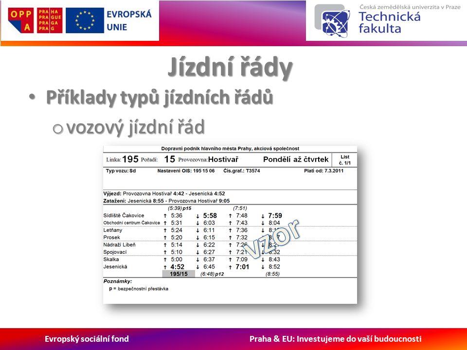 Evropský sociální fond Praha & EU: Investujeme do vaší budoucnosti Jízdní řády Příklady typů jízdních řádů Příklady typů jízdních řádů o vozový jízdní řád