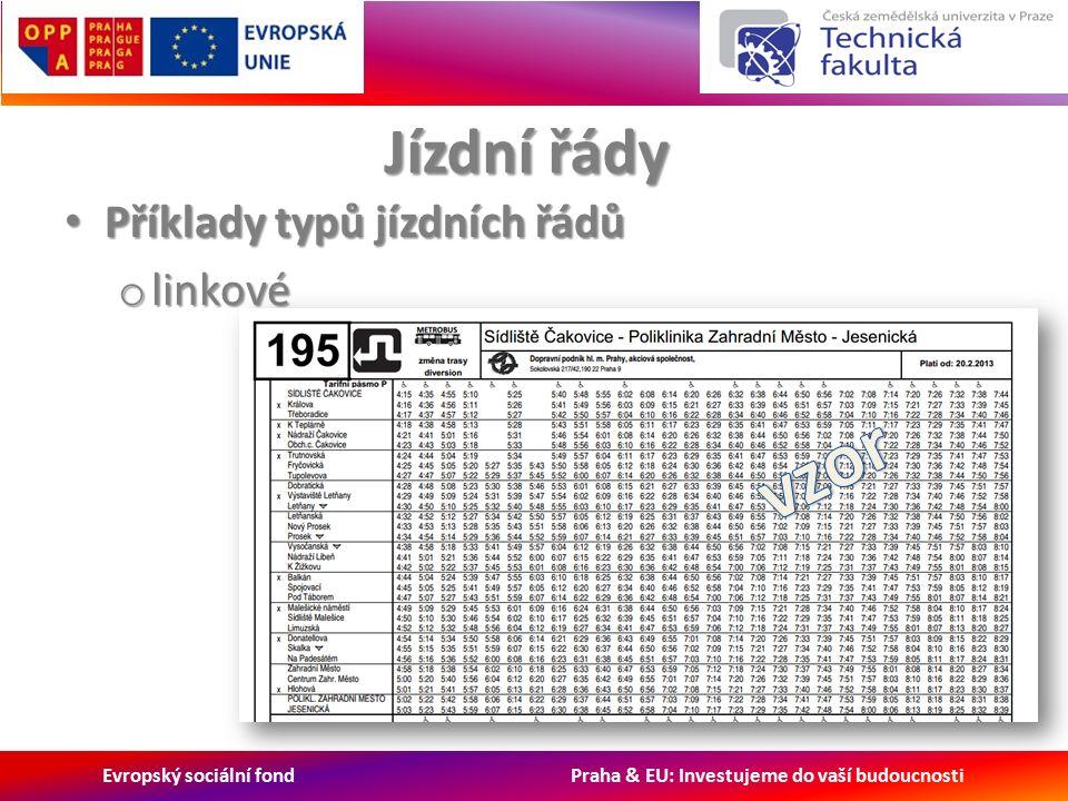Evropský sociální fond Praha & EU: Investujeme do vaší budoucnosti Jízdní řády Příklady typů jízdních řádů Příklady typů jízdních řádů o linkové