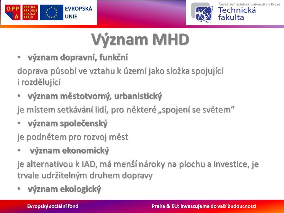 """Evropský sociální fond Praha & EU: Investujeme do vaší budoucnosti Význam MHD význam dopravní, funkční význam dopravní, funkční doprava působí ve vztahu k území jako složka spojující i rozdělující význam městotvorný, urbanistický význam městotvorný, urbanistický je místem setkávání lidí, pro některé """"spojení se světem význam společenský význam společenský je podnětem pro rozvoj měst význam ekonomický význam ekonomický je alternativou k IAD, má menší nároky na plochu a investice, je trvale udržitelným druhem dopravy význam ekologický význam ekologický"""