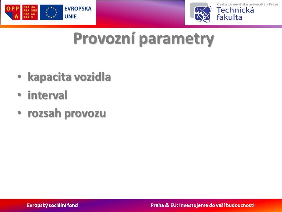 Evropský sociální fond Praha & EU: Investujeme do vaší budoucnosti Provozní parametry kapacita vozidla kapacita vozidla interval interval rozsah provozu rozsah provozu