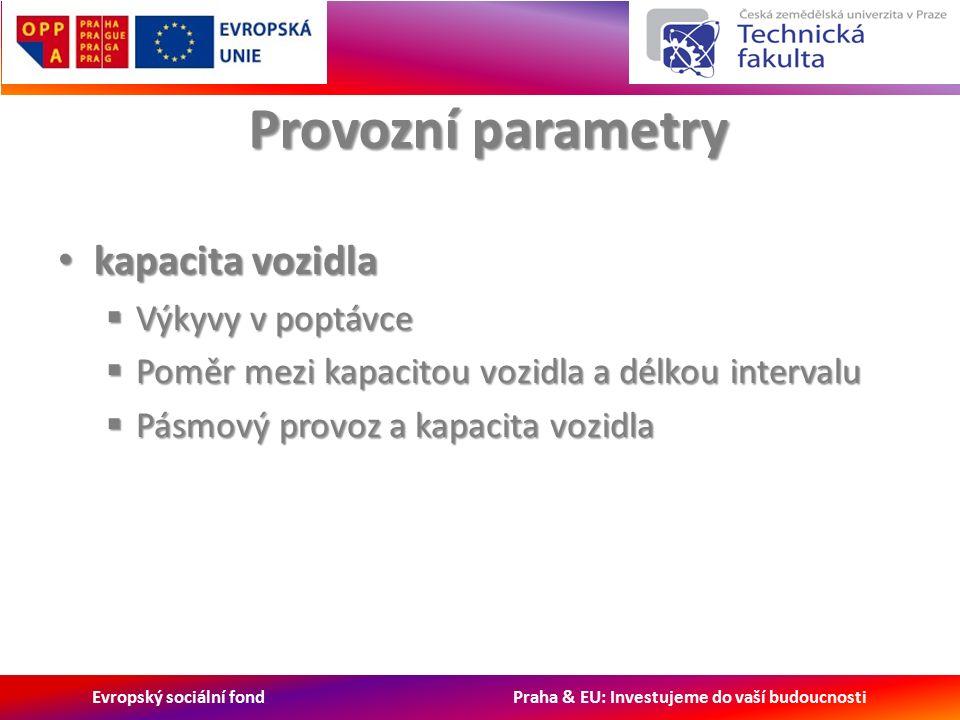 Evropský sociální fond Praha & EU: Investujeme do vaší budoucnosti Provozní parametry kapacita vozidla kapacita vozidla  Výkyvy v poptávce  Poměr mezi kapacitou vozidla a délkou intervalu  Pásmový provoz a kapacita vozidla