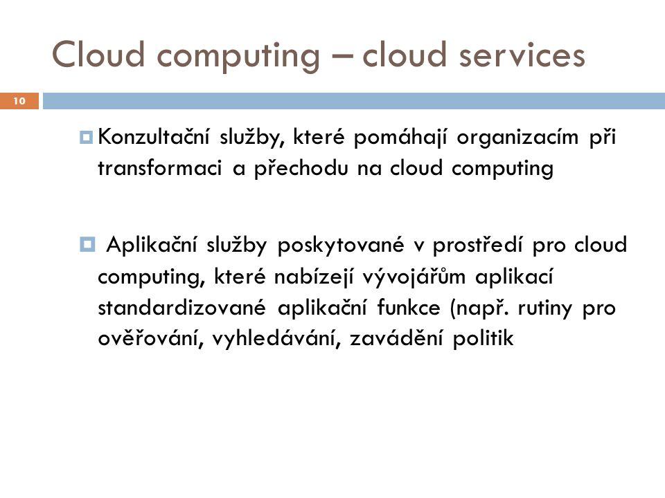 Cloud computing – cloud services  Konzultační služby, které pomáhají organizacím při transformaci a přechodu na cloud computing  Aplikační služby po