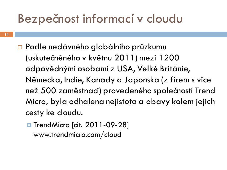Bezpečnost informací v cloudu  Podle nedávného globálního průzkumu (uskutečněného v květnu 2011) mezi 1200 odpovědnými osobami z USA, Velké Británie, Německa, Indie, Kanady a Japonska (z firem s vice než 500 zaměstnaci) provedeného společností Trend Micro, byla odhalena nejistota a obavy kolem jejich cesty ke cloudu.