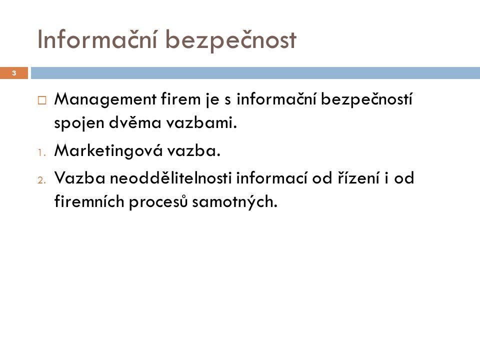 Informační bezpečnost  Management firem je s informační bezpečností spojen dvěma vazbami. 1. Marketingová vazba. 2. Vazba neoddělitelnosti informací
