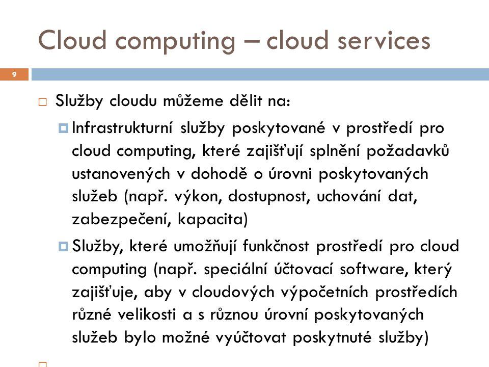 Cloud computing – cloud services  Konzultační služby, které pomáhají organizacím při transformaci a přechodu na cloud computing  Aplikační služby poskytované v prostředí pro cloud computing, které nabízejí vývojářům aplikací standardizované aplikační funkce (např.