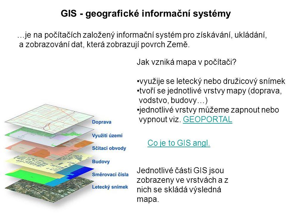 GIS - geografické informační systémy Jednotlivé části GIS jsou zobrazeny ve vrstvách a z nich se skládá výsledná mapa.