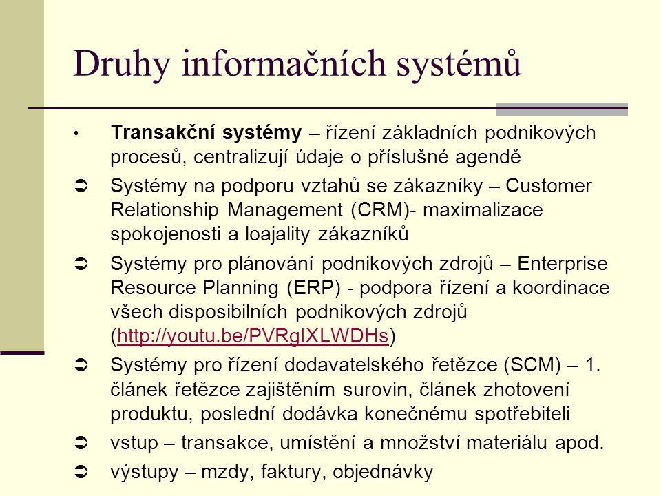Transakční systémy – řízení základních podnikových procesů, centralizují údaje o příslušné agendě  Systémy na podporu vztahů se zákazníky – Customer Relationship Management (CRM)- maximalizace spokojenosti a loajality zákazníků  Systémy pro plánování podnikových zdrojů – Enterprise Resource Planning (ERP) - podpora řízení a koordinace všech disposibilních podnikových zdrojů (http://youtu.be/PVRgIXLWDHs)http://youtu.be/PVRgIXLWDHs  Systémy pro řízení dodavatelského řetězce (SCM) – 1.