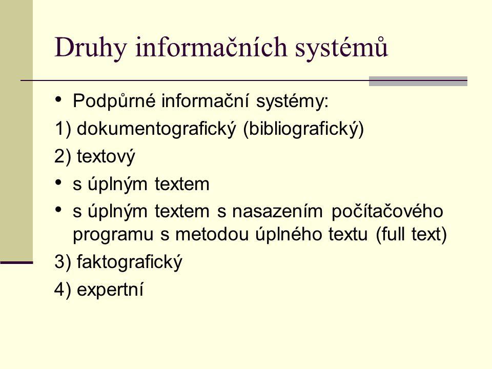 Druhy informačních systémů Podpůrné informační systémy: 1) dokumentografický (bibliografický) 2) textový s úplným textem s úplným textem s nasazením počítačového programu s metodou úplného textu (full text) 3) faktografický 4) expertní