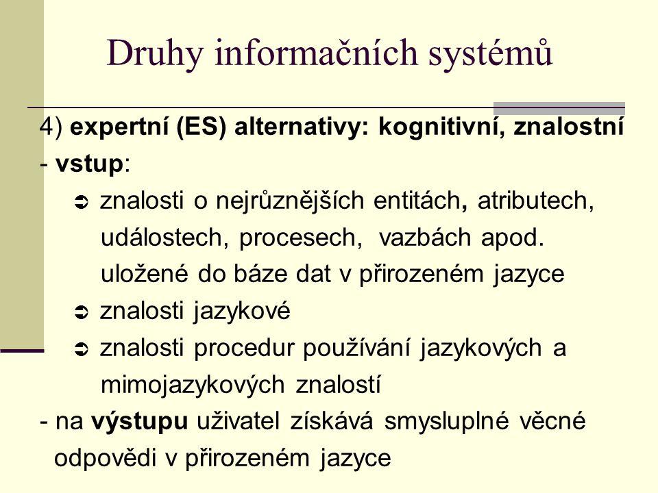 Druhy informačních systémů 4) expertní (ES) alternativy: kognitivní, znalostní - vstup:  znalosti o nejrůznějších entitách, atributech, událostech, procesech, vazbách apod.