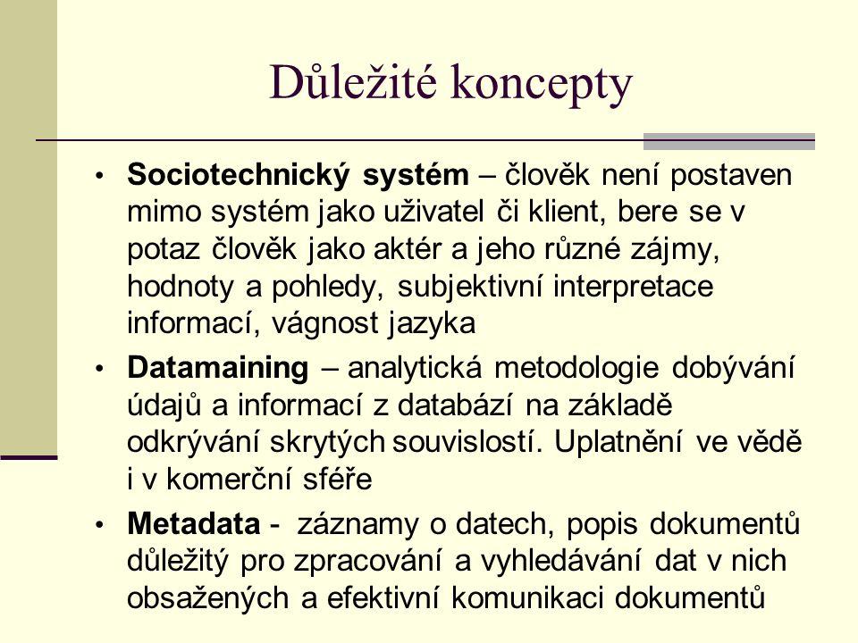 Důležité koncepty Sociotechnický systém – člověk není postaven mimo systém jako uživatel či klient, bere se v potaz člověk jako aktér a jeho různé zájmy, hodnoty a pohledy, subjektivní interpretace informací, vágnost jazyka Datamaining – analytická metodologie dobývání údajů a informací z databází na základě odkrývání skrytých souvislostí.