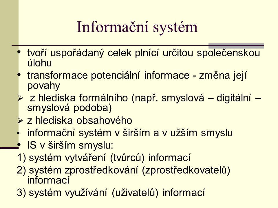 Informační systém tvoří uspořádaný celek plnící určitou společenskou úlohu transformace potenciální informace - změna její povahy  z hlediska formálního (např.