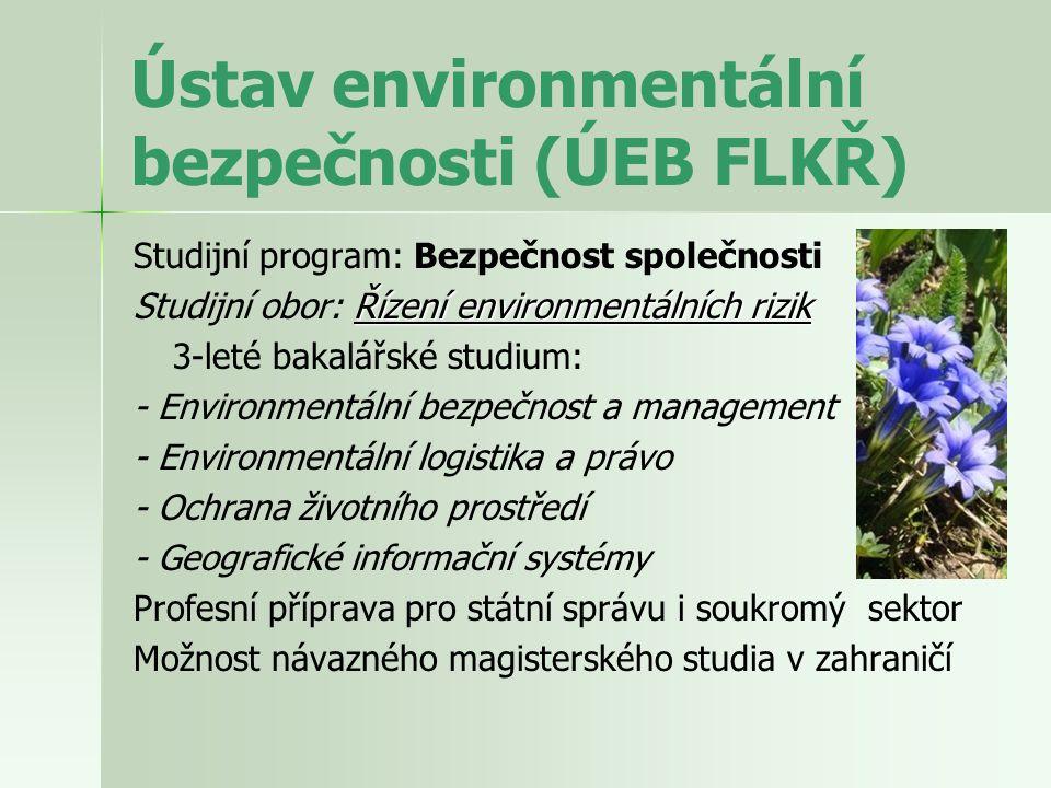 Environmentální bezpečnost – význam studia a uplatnění Inter disciplinární charakter a široká aplikace studia : - komplexní chápání přírodních procesů a cyklů - rekonstrukce a prognóza vývoje klimatických změn (lokálních, regionálních, globálních) - predikce environmentálních hazardů - národní plánování a socio-ekonomický rozvoj - ochrana a tvorba životního prostředí (biodiverzita) - ekonomický management - exploatace přírodních zdrojů (udržitelný rozvoj) - revitalizační programy krajinné ekologie, aj.