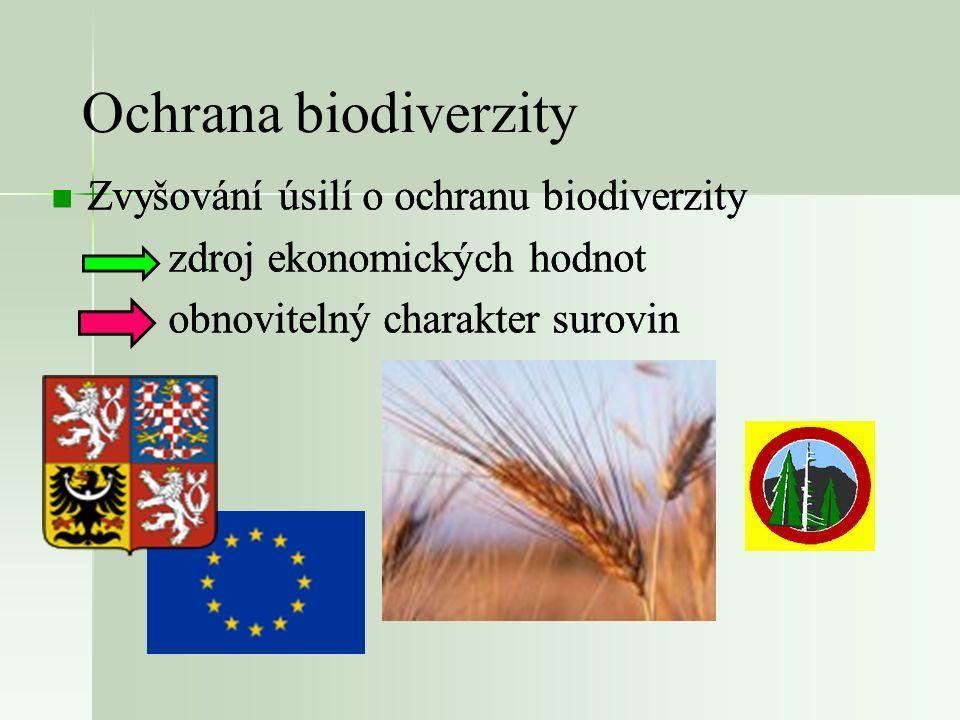 Ochrana biodiverzity Zvyšování úsilí o ochranu biodiverzity zdroj ekonomických hodnot obnovitelný charakter surovin Zvyšování úsilí o ochranu biodiver