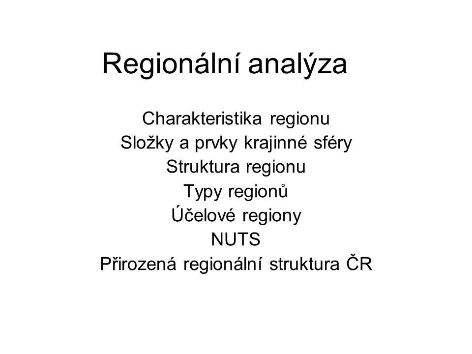 Regionální analýza Charakteristika regionu Složky a prvky krajinné sféry Struktura regionu Typy regionů Účelové regiony NUTS Přirozená regionální struktura ČR