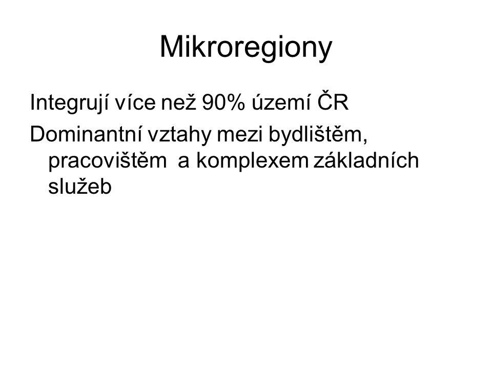 Mikroregiony Integrují více než 90% území ČR Dominantní vztahy mezi bydlištěm, pracovištěm a komplexem základních služeb