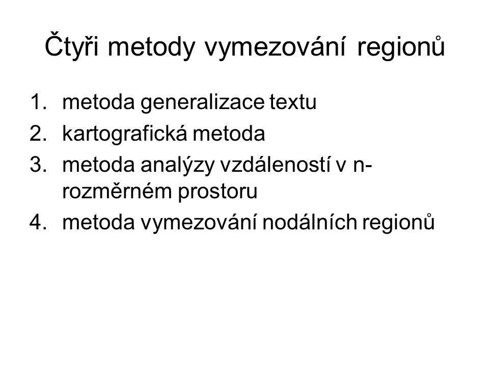 Čtyři metody vymezování regionů 1.metoda generalizace textu 2.kartografická metoda 3.metoda analýzy vzdáleností v n- rozměrném prostoru 4.metoda vymezování nodálních regionů