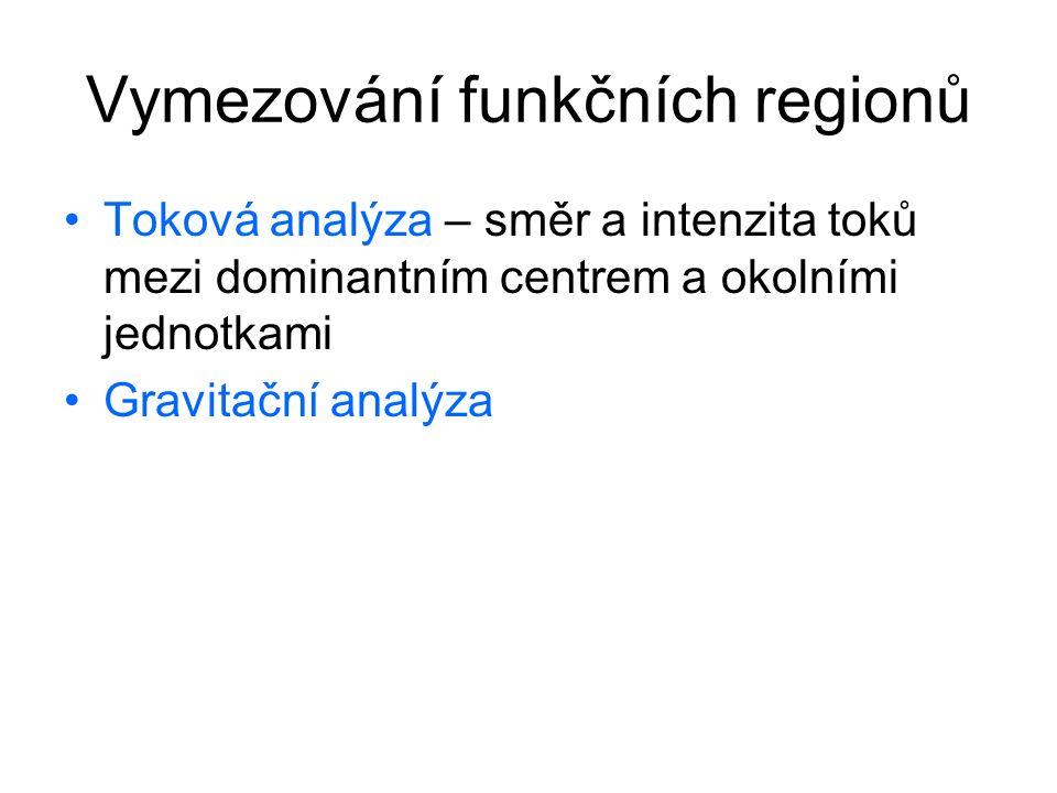 Vymezování funkčních regionů Toková analýza – směr a intenzita toků mezi dominantním centrem a okolními jednotkami Gravitační analýza