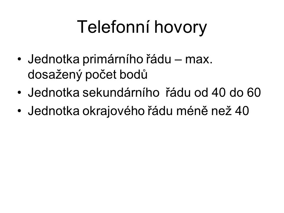 Telefonní hovory Jednotka primárního řádu – max.
