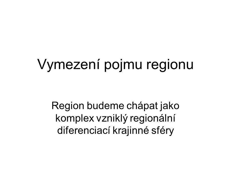 Vymezení pojmu regionu Region budeme chápat jako komplex vzniklý regionální diferenciací krajinné sféry