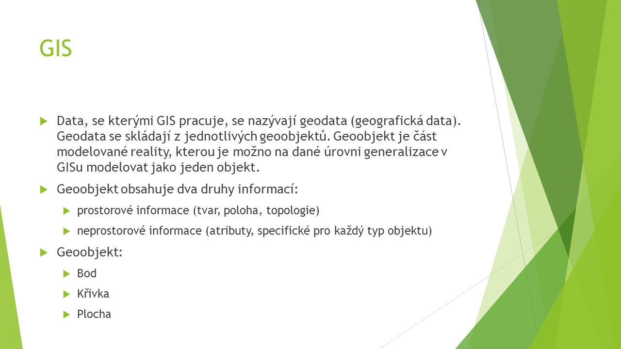 GIS  Data, se kterými GIS pracuje, se nazývají geodata (geografická data).