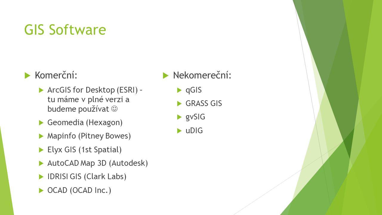 GIS Software  Komerční:  ArcGIS for Desktop (ESRI) – tu máme v plné verzi a budeme používat  Geomedia (Hexagon)  Mapinfo (Pitney Bowes)  Elyx GIS (1st Spatial)  AutoCAD Map 3D (Autodesk)  IDRISI GIS (Clark Labs)  OCAD (OCAD Inc.)  Nekomereční:  qGIS  GRASS GIS  gvSIG  uDIG