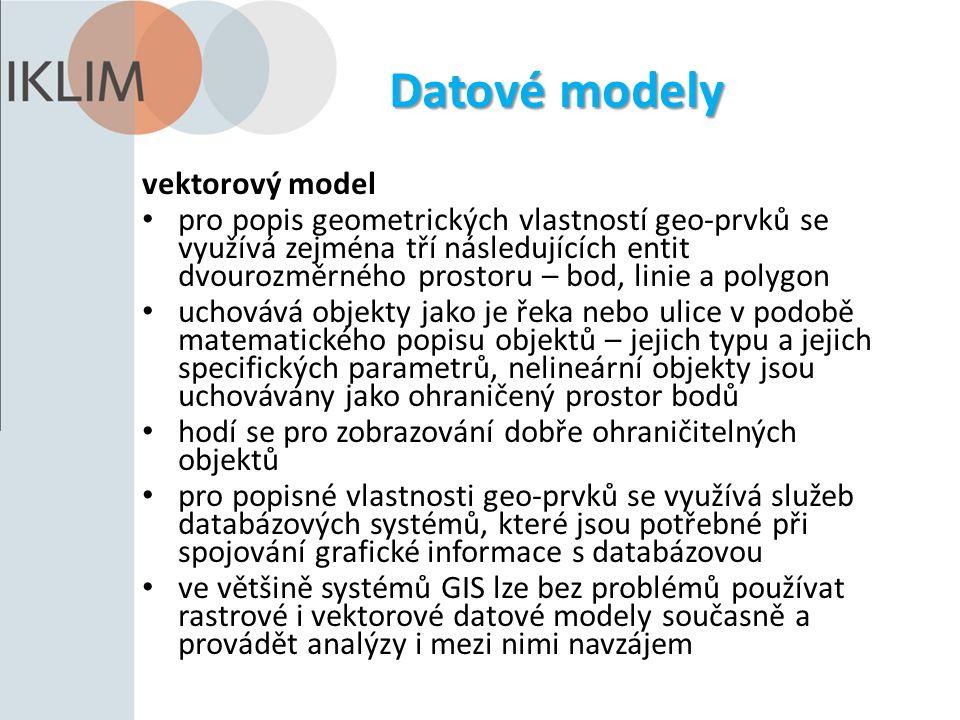 Datové modely vektorový model pro popis geometrických vlastností geo-prvků se využívá zejména tří následujících entit dvourozměrného prostoru – bod, l