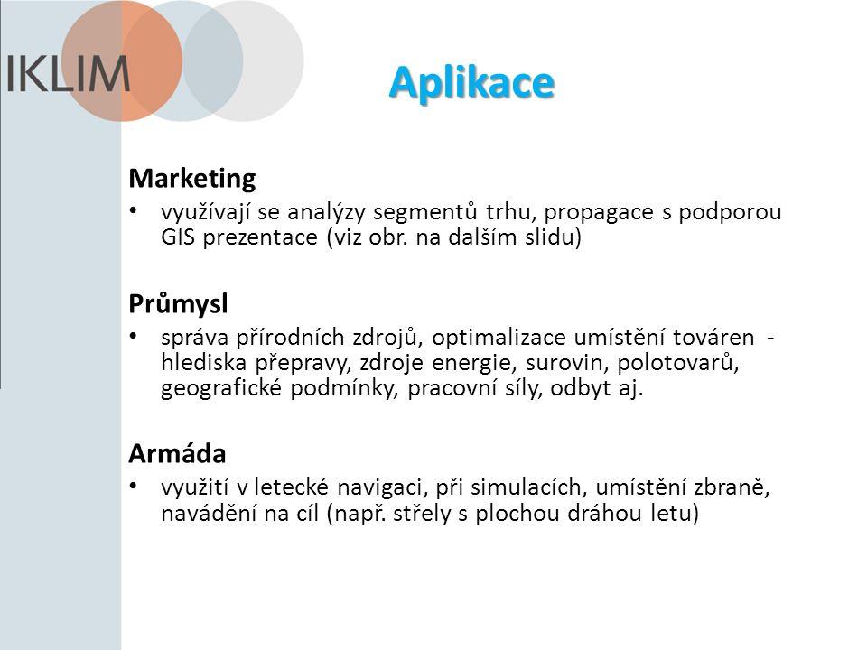 Aplikace Marketing využívají se analýzy segmentů trhu, propagace s podporou GIS prezentace (viz obr. na dalším slidu) Průmysl správa přírodních zdrojů