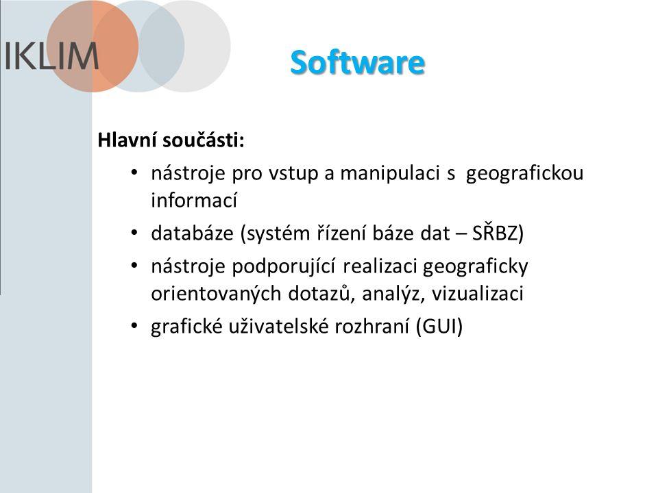 Software Hlavní součásti: nástroje pro vstup a manipulaci s geografickou informací databáze (systém řízení báze dat – SŘBZ) nástroje podporující realizaci geograficky orientovaných dotazů, analýz, vizualizaci grafické uživatelské rozhraní (GUI)