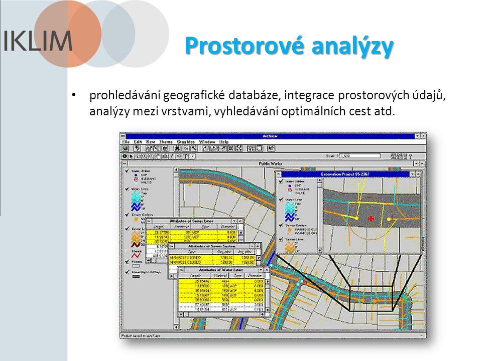 Prostorové analýzy prohledávání geografické databáze, integrace prostorových údajů, analýzy mezi vrstvami, vyhledávání optimálních cest atd.