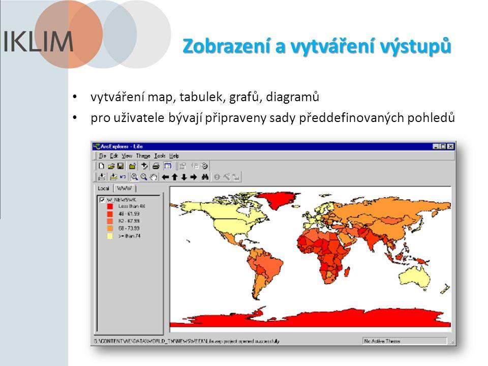 Zobrazení a vytváření výstupů vytváření map, tabulek, grafů, diagramů pro uživatele bývají připraveny sady předdefinovaných pohledů