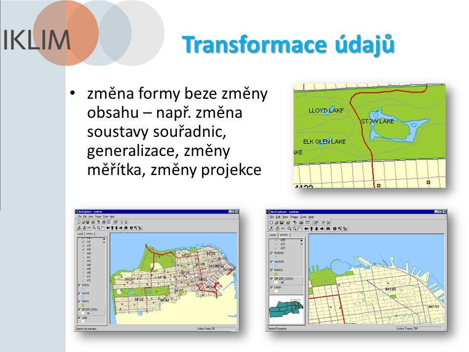 Transformace údajů změna formy beze změny obsahu – např. změna soustavy souřadnic, generalizace, změny měřítka, změny projekce
