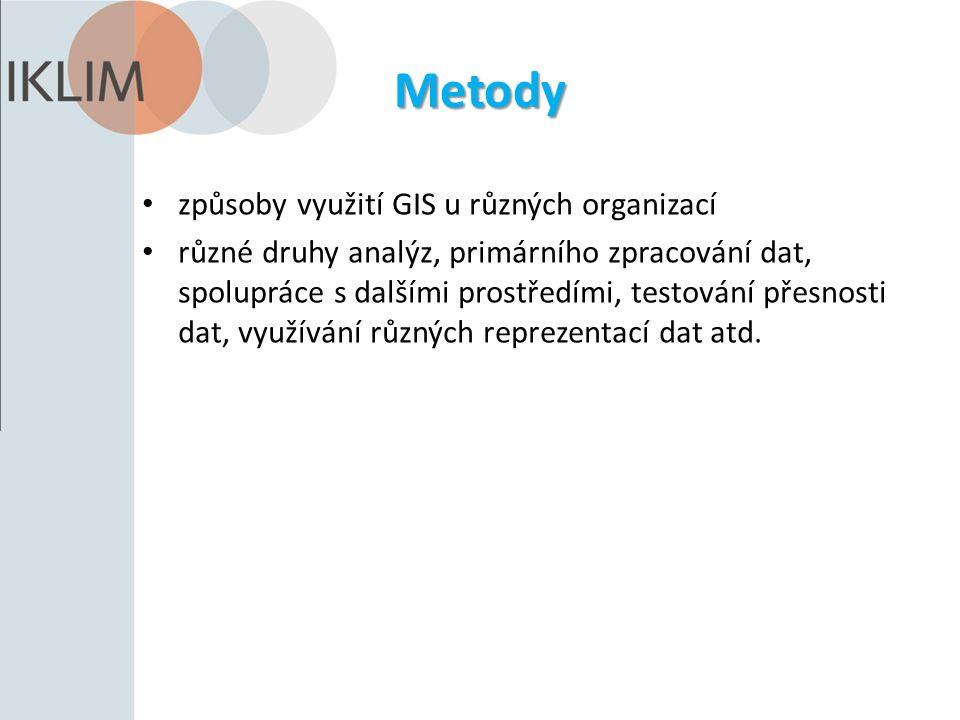 Metody způsoby využití GIS u různých organizací různé druhy analýz, primárního zpracování dat, spolupráce s dalšími prostředími, testování přesnosti d