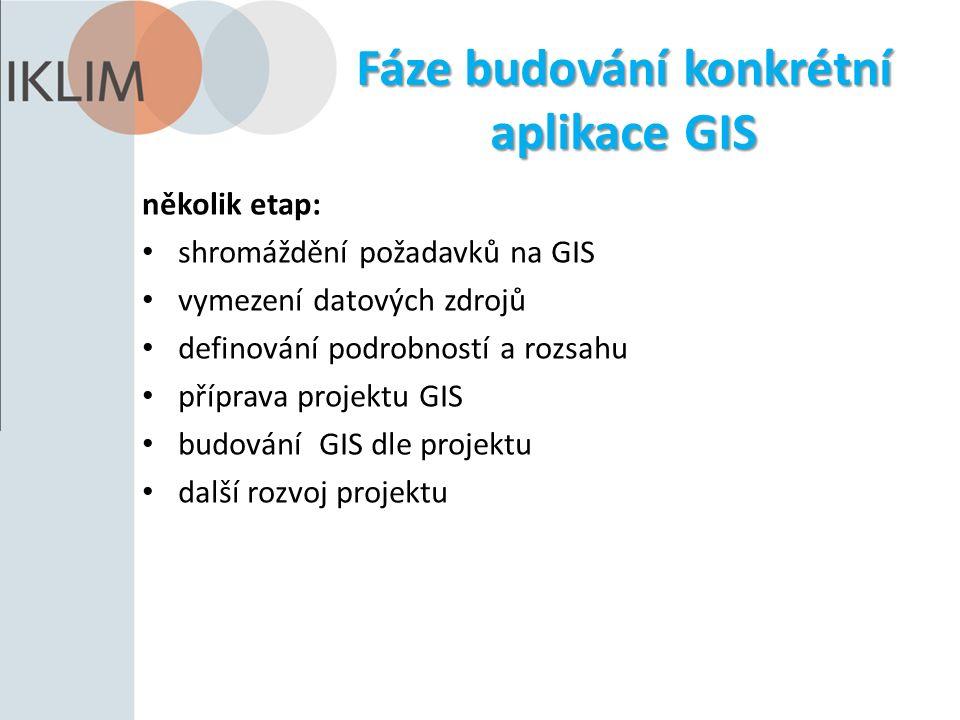 Fáze budování konkrétní aplikace GIS několik etap: shromáždění požadavků na GIS vymezení datových zdrojů definování podrobností a rozsahu příprava projektu GIS budování GIS dle projektu další rozvoj projektu