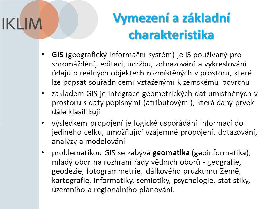 Vymezení a základní charakteristika GIS (geografický informační systém) je IS používaný pro shromáždění, editaci, údržbu, zobrazování a vykreslování ú