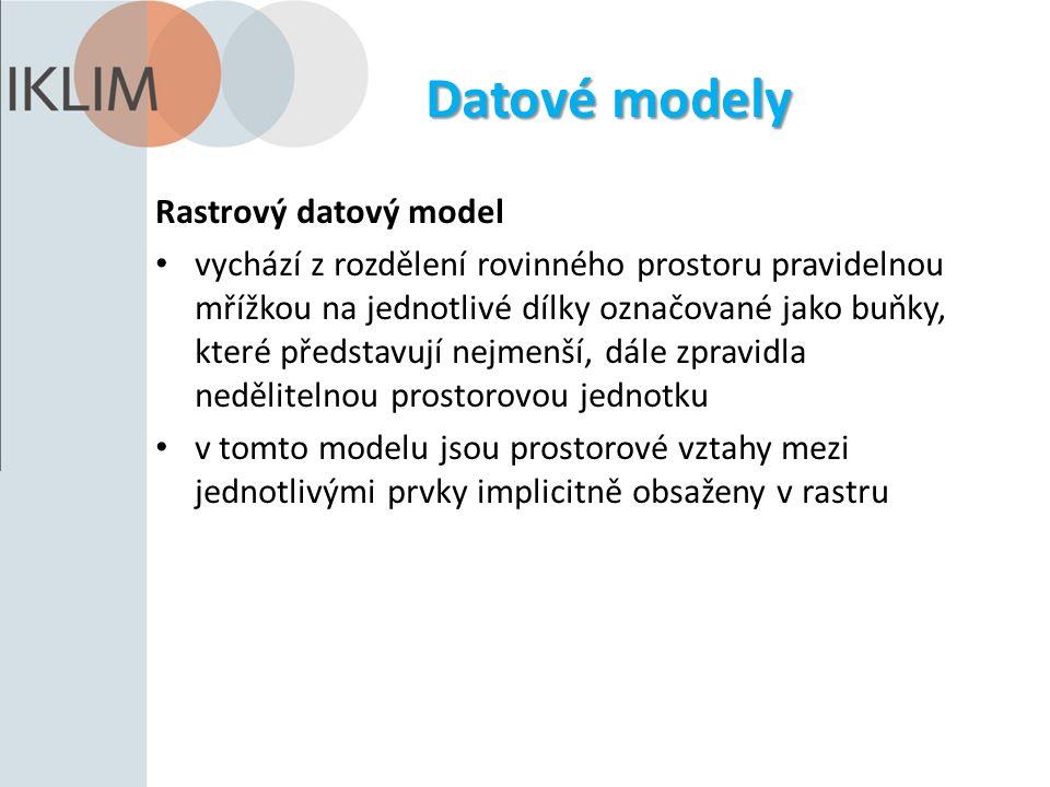 Datové modely Rastrový datový model vychází z rozdělení rovinného prostoru pravidelnou mřížkou na jednotlivé dílky označované jako buňky, které představují nejmenší, dále zpravidla nedělitelnou prostorovou jednotku v tomto modelu jsou prostorové vztahy mezi jednotlivými prvky implicitně obsaženy v rastru