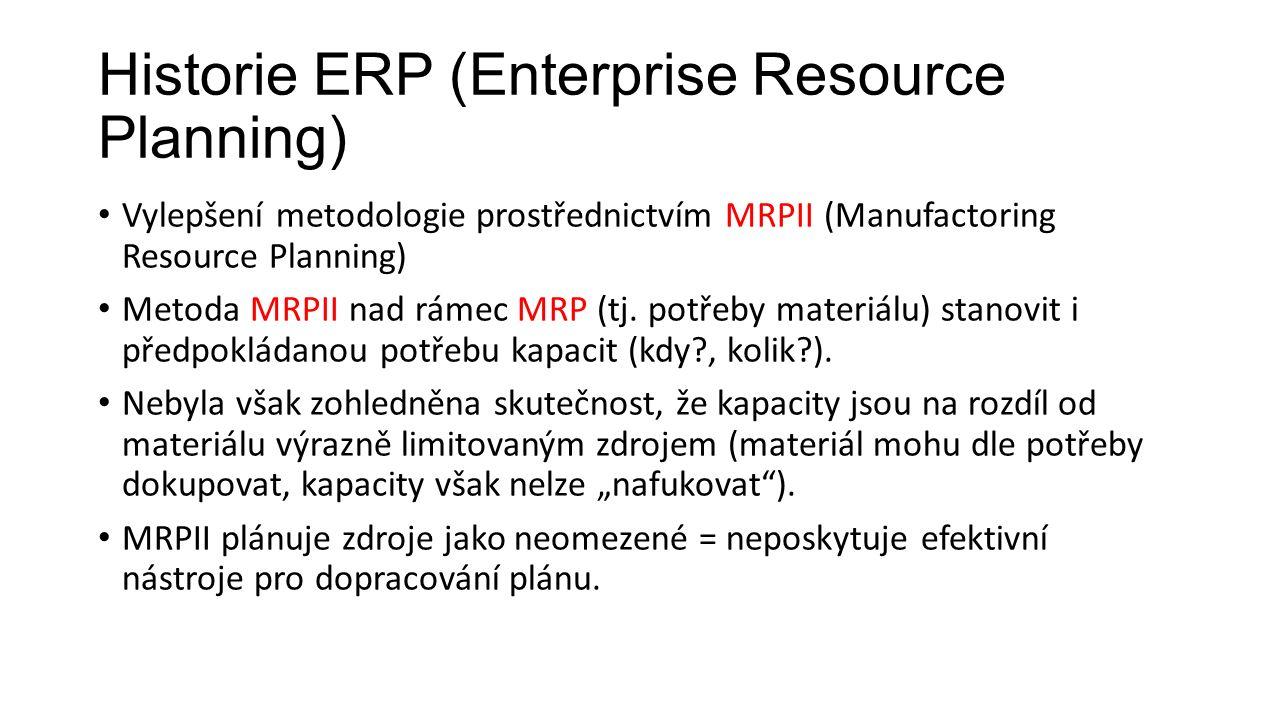 Historie ERP (Enterprise Resource Planning) Vylepšení metodologie prostřednictvím MRPII (Manufactoring Resource Planning) Metoda MRPII nad rámec MRP (tj.