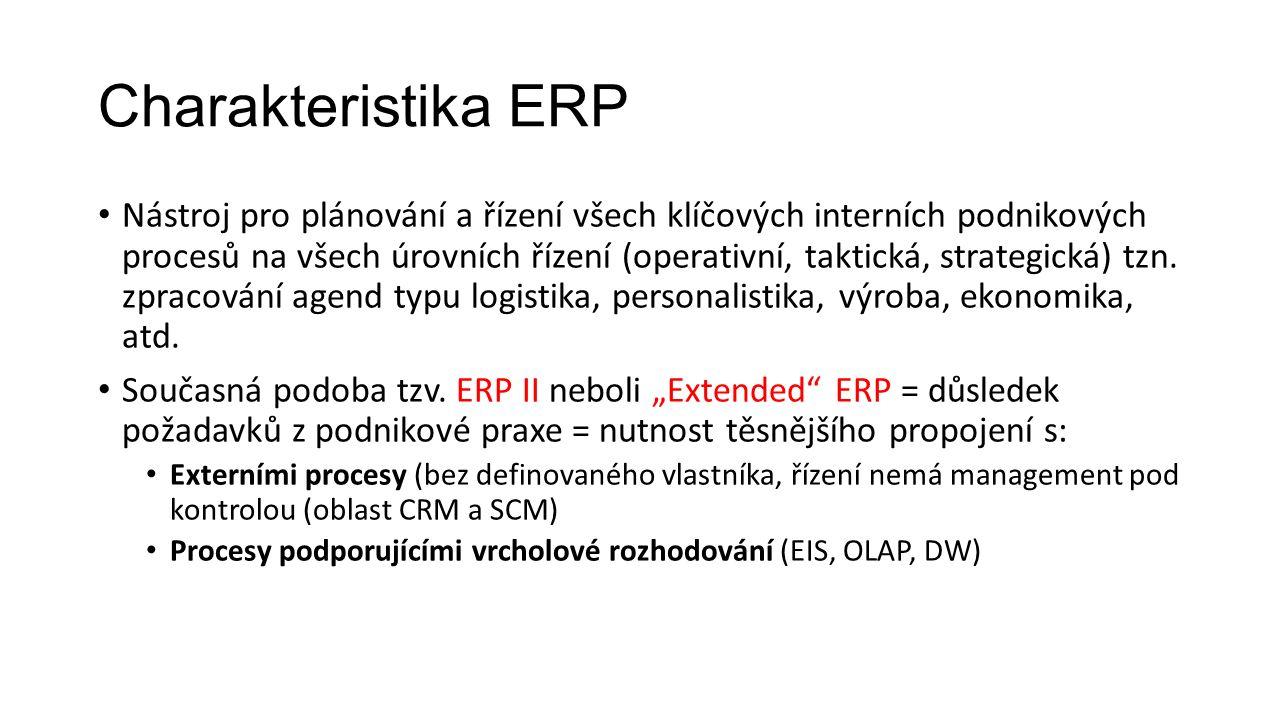 Charakteristika ERP Nástroj pro plánování a řízení všech klíčových interních podnikových procesů na všech úrovních řízení (operativní, taktická, strategická) tzn.